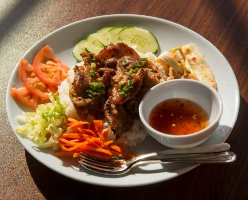 Rick Egan  |  The Salt Lake Tribune The BBQ pork back rib banh mi at Little Saigon in Salt Lake City.
