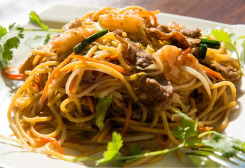 Rick Egan  |  The Salt Lake Tribune  Beef, shrimp and chicken combination stir-fried noodles, at Little Saigon, a new Vietnamese restaurant in Sugar House.