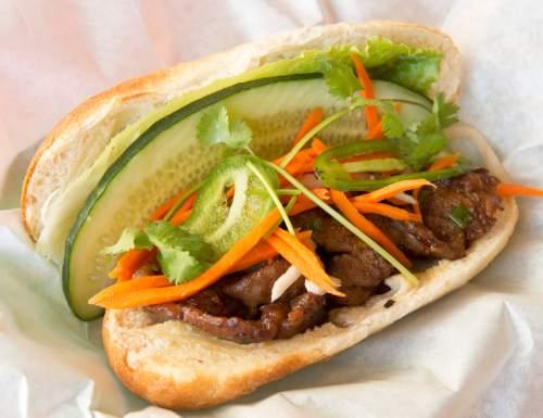 Rick Egan  |  The Salt Lake Tribune  The BBQ pork back rib banh mi at Little Saigon in Salt Lake City.