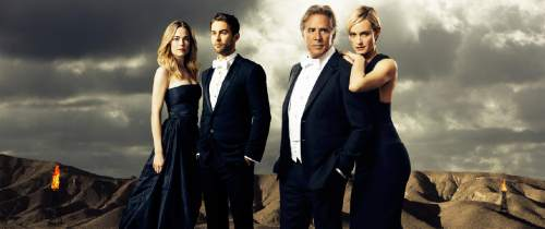 "ABC's ""Blood & Oil"" stars Rebecca Rittenhouse as Cody Lefever, Chace Crawford as Billy Lefever, Don Johnson as Hap Briggs and Amber Valletta as Carla Briggs.  Photo by Kurt Iswarienkio/ABC via Getty Images"