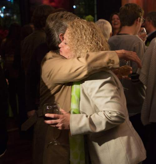 Steve Griffin  |  The Salt Lake Tribune  Salt Lake City mayoral candidate Jackie Biskupski's hugs supporters during election night gathering at Kimi's Chop House in Salt Lake City, Tuesday, November 3, 2015.