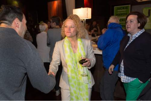 Steve Griffin  |  The Salt Lake Tribune  Salt Lake City mayoral candidate Jackie Biskupski's shakes hands with supporters during election night gathering at Kimi's Chop House in Salt Lake City, Tuesday, November 3, 2015.
