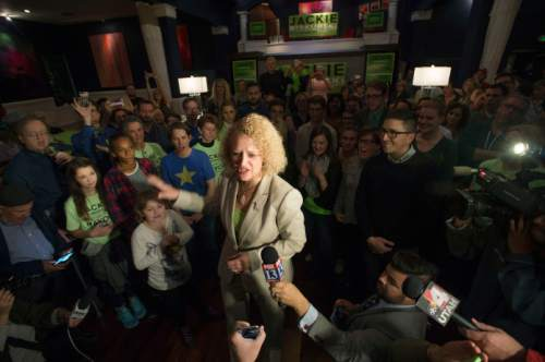 Steve Griffin  |  The Salt Lake Tribune  Jackie Biskupski's talks to her supporters after late lection results came in during her election night gathering at Kimi's Chop House in Salt Lake City, Tuesday, November 3, 2015.