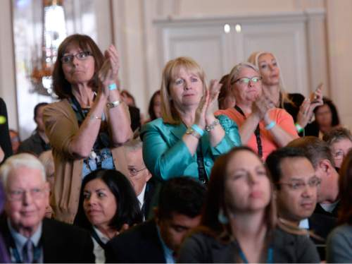 Al Hartmann  |  The Salt Lake Tribune Attendees at the World Congress of Families applaud during the opening ceremony at the Grand America hotel in Salt Lake City Tuesday Oct. 27, 2015.
