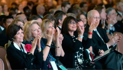 Al Hartmann  |  The Salt Lake Tribune Attendees at the World Congress of Families applaud during opening ceremony at the Grand America hotel in Salt Lake City Tuesday Oct. 27, 2015.