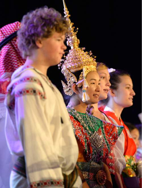 Al Hartmann  |  The Salt Lake Tribune Members of the International Children's Choir dressed in their country's traditional clothing sing in the March of the National Flags. The choir performed during the opening of the four-day World Congress of Families at the Grand America hotel in Salt Lake City Tuesday Oct. 27, 2015.