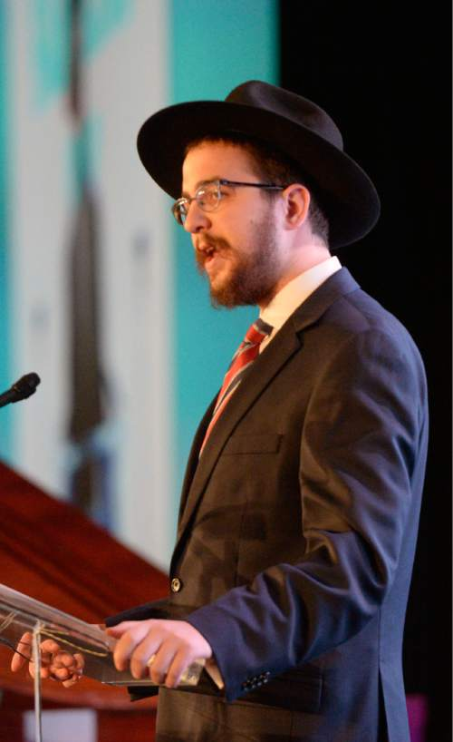 Al Hartmann  |  The Salt Lake Tribune Local Rabbi Avremi Zippel offers the invocation at the opening of the four-day World Congress of Families at the Grand America hotel in Salt Lake City Tuesday Oct. 27, 2015.