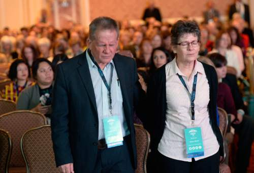Al Hartmann  |  The Salt Lake Tribune Couple in audience of about 3,000 stands for the opening invocation for the 4-day World Congress of Families at the Grand America in Salt Lake City Tuesday Oct. 27