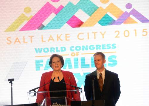 Al Hartmann  |  The Salt Lake Tribune Janice Shaw Crouse, Executive Director for World Congress of Families, and Stan Swim, Interim President of the Sutherland Institute, welcome a group of about 3,000 conference attendees at the Grand America hotel in Salt Lake City Tuesday Oct. 27, 2015.