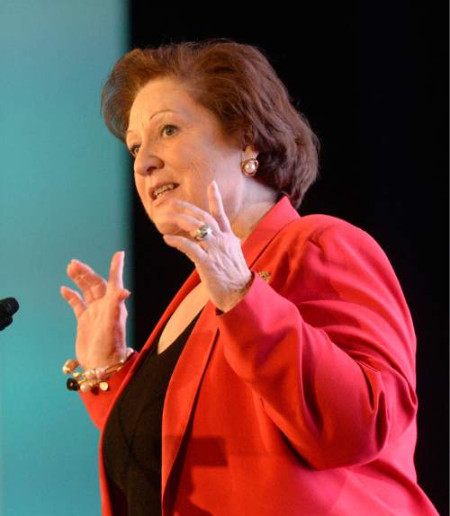 Al Hartmann  |  The Salt Lake Tribune Janice Shaw Crouse, Executive Director for World Congress of Families, gives the opeing welcome to 3,000 conference attendees at the Grand America hotel in Salt Lake City Tuesday Oct. 27, 2015.