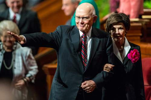 Chris Detrick  |  The Salt Lake Tribune Dallin H. Oaks, Quorum of the Twelve Apostles, walks off of the stage during morning session of the 185th LDS General Conference at  the Conference Center in Salt Lake City Saturday October 3, 2015.
