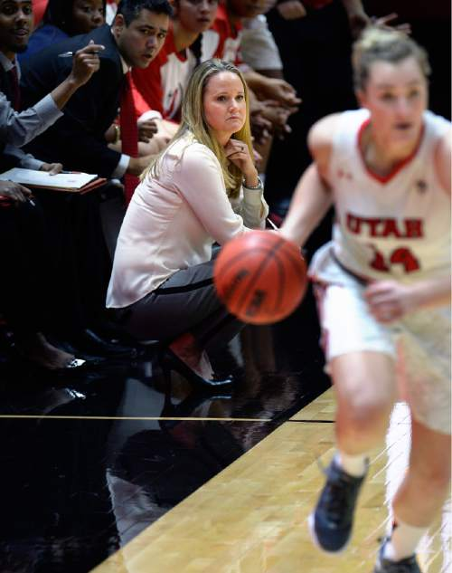Scott Sommerdorf   |  The Salt Lake Tribune Utah women's basketball head coach Lynne Roberts watches as Paige Crozon brings up the ball during first half play against Fort Lewis College. Utah led Fort Lewis 46-32 at the half, Friday, November 6, 2015.