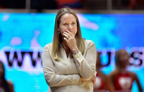 Scott Sommerdorf   |  The Salt Lake Tribune Utah women's basketball head coach Lynne Roberts watches during second half play as Utah beat Fort Lewis 77-69, Friday, November 6, 2015.