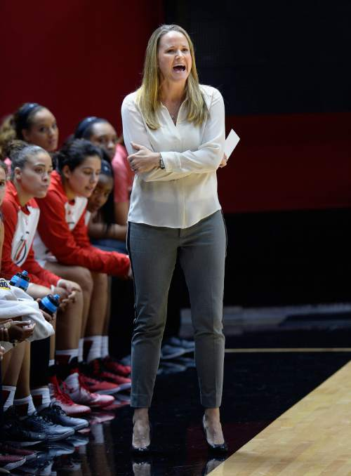 Scott Sommerdorf   |  The Salt Lake Tribune Utah women's basketball head coach Lynne Roberts reacts to a call as she watches first half play against Fort Lewis College. Utah led Fort Lewis 46-32 at the half, Friday, November 6, 2015.