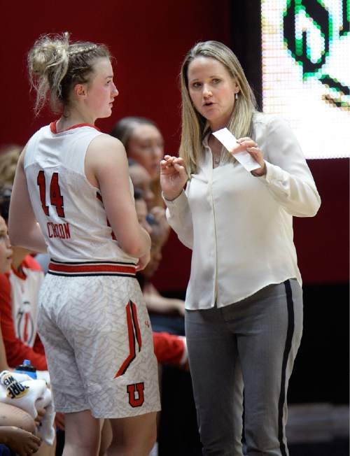 Scott Sommerdorf   |  The Salt Lake Tribune Utah women's basketball head coach Lynne Roberts gives instructions to W Paige Crozon as she came into the game during first half play. Utah led Fort Lewis 46-32 at the half, Friday, November 6, 2015.