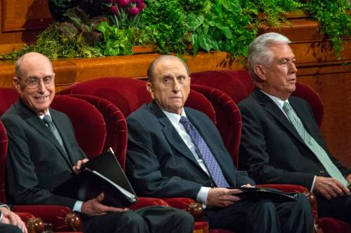 Chris Detrick  |  The Salt Lake Tribune President Henry B. Eyring, first counselor in the First Presidency, President Thomas S. Monson and President Dieter F. Uchtdorf, second counselor in the governing LDS First Presidency,  during morning session of the 185th LDS General Conference at  the Conference Center in Salt Lake City Saturday October 3, 2015.