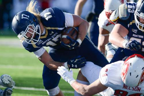Montana State running back Chad Newell drives into the end zone for a touchdown against Southern Utah linebacker Taylor Nelson during the first half of an NCAA college football game on Saturday, Nov. 7, 2015, in Bozeman, Mont. (Adrian Sanchez-Gonzalez/Bozeman Daily Chronicle via AP)