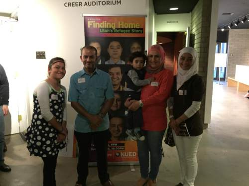 Courtesy  |  Catholic Community Services  Utah's first Syrian refugees: Moawiyah Bilal, his wife, Kholoud Abu Arida holding Zain Bilal, along with Yasimn Bilal (far left) and Nour Bilal (far right).