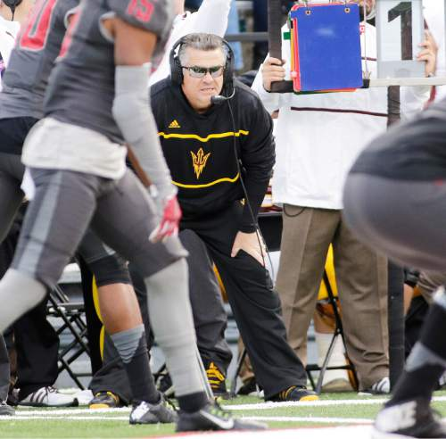 Arizona State head coach Todd Graham watches from the sideline during the first half of an NCAA college football game against Washington State, Saturday, Nov. 7, 2015, in Pullman, Wash. (AP Photo/Young Kwak)