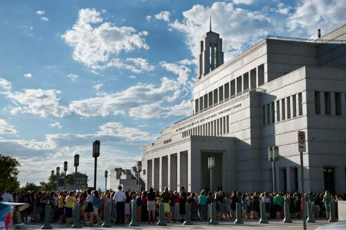 Lennie Mahler  |  The Salt Lake Tribune  Women line up in front of the LDS Conference Center for the first session of the 185th LDS General Conference, Saturday, Sept. 26, 2015, in Salt Lake City. The session is for all LDS women and girls eight years or older.
