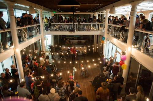 Rick Egan  |  The Salt Lake Tribune  Troy Williams speaks to an over-flow crowd during the Family Homo Evening, an event to celebrate all families, sponsored by Equality Utah and the Utah Pride Center, at the Impact Hub, Monday, November 9, 2015.