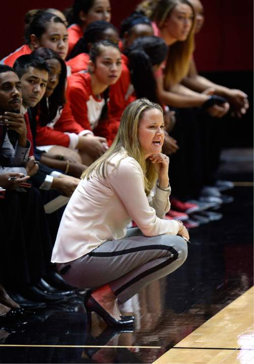 Scott Sommerdorf   |  The Salt Lake Tribune Utah women's basketball head coach Lynne Roberts watches first half play against Fort Lewis College. Utah led Fort Lewis 46-32 at the half, Friday, November 6, 2015.