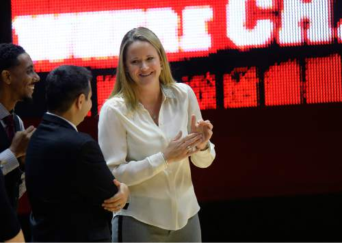 Scott Sommerdorf   |  The Salt Lake Tribune Utah women's basketball head coach Lynne Roberts smiles during pre game introductions. Utah led Fort Lewis 46-32 at the half, Friday, November 6, 2015.