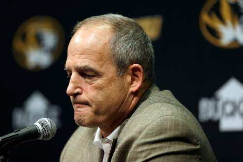Missouri head football coach Gary Pinkel speaks to the media Monday, Nov. 9, 2015, in Columbia, Mo. Football will resume at Missouri following the resignation of University of Missouri system president Tim Wolfe after several members of the team, pointing to Wolfe's inaction in handling of racial tensions at the school, announced over the weekend that they would not play until the president was gone. (AP Photo/Jeff Roberson)
