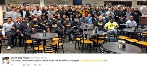 Courtesy  |  Twitter  This screenshot from Twitter shows Missouri head coach Gary Pinkel's tweet on Nov. 8.