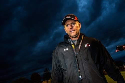 Chris Detrick     The Salt Lake Tribune Utah Utes head coach Kyle Whittingham talks to members of the media after a practice Tuesday November 3, 2015.