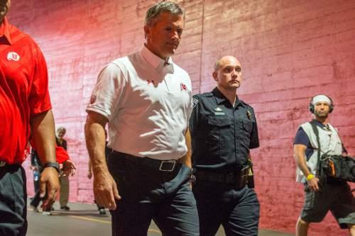 Chris Detrick     The Salt Lake Tribune Utah Utes head coach Kyle Whittingham arrives for the game at the Los Angeles Memorial Coliseum Saturday October 24, 2015.