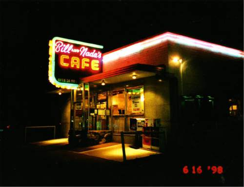 |  Courtesy Chipper Young  Night shot outside Bill and Nada's Cafe, highlighted by the cafe's iconic neon sign. June 16, 1998.