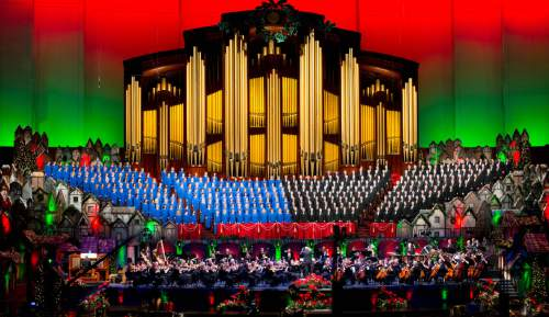 Trent Nelson  |  The Salt Lake Tribune The Mormon Tabernacle Choir sings during a dress rehearsal of their Christmas concert with special guests Deborah Voigt and John Rhys-Davies Thursday December 12, 2013 at the LDS Conference Center in Salt Lake City.