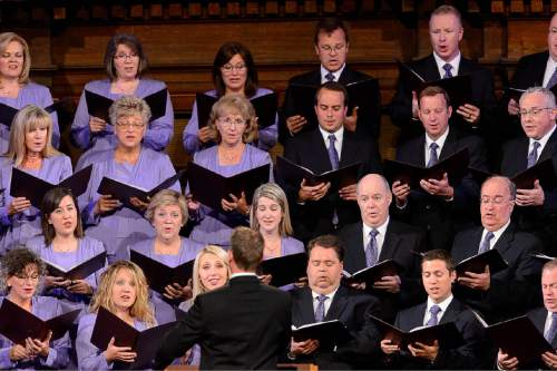 Trent Nelson  |  The Salt Lake Tribune Members of the Mormon Tabernacle Choir sing at the beginning of the funeral for LDS apostle Boyd K. Packer, in Salt Lake City, Friday July 10, 2015.