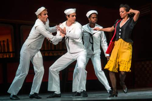 "Chris Detrick  |  The Salt Lake Tribune Chase O'Connell, Joshua Whitehead, Adrian Fry and Gabrielle Salvatto perform 'Fancy Free' during a dress rehearsal for Ballet West's ""Iconic Classics,"" at the Capitol Theatre Thursday November 5, 2015.  Iconic Classics, Ballet West's Season Opener, will feature some of the most important ballets from quintessential choreographers of the 20th Century. A dazzling triple bill, Iconic Classics takes the stage November 6 – 14 for just seven performances at the Janet Quinney Lawson Capitol Theatre."