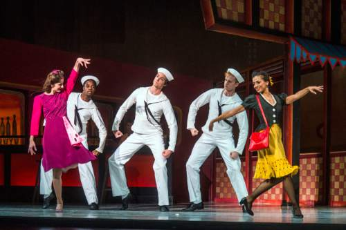 "Chris Detrick  |  The Salt Lake Tribune Chase O'Connell, Joshua Whitehead, Adrian Fry,  Gabrielle Salvatto and Allison DeBona perform 'Fancy Free' during a dress rehearsal for Ballet West's ""Iconic Classics,"" at the Capitol Theatre Thursday November 5, 2015.  Iconic Classics, Ballet West's Season Opener, will feature some of the most important ballets from quintessential choreographers of the 20th Century. A dazzling triple bill, Iconic Classics takes the stage November 6 – 14 for just seven performances at the Janet Quinney Lawson Capitol Theatre."
