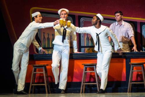 "Chris Detrick  |  The Salt Lake Tribune Chase O'Connell, Joshua Whitehead, Adrian Fry and Trevor Naumann perform 'Fancy Free' during a dress rehearsal for Ballet West's ""Iconic Classics,"" at the Capitol Theatre Thursday November 5, 2015.  Iconic Classics, Ballet Westís Season Opener, will feature some of the most important ballets from quintessential choreographers of the 20th Century. A dazzling triple bill, Iconic Classics takes the stage November 6 ñ 14 for just seven performances at the Janet Quinney Lawson Capitol Theatre."