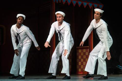 "Chris Detrick  |  The Salt Lake Tribune Chase O'Connell, Joshua Whitehead and Adrian Fry perform 'Fancy Free' during a dress rehearsal for Ballet West's ""Iconic Classics,"" at the Capitol Theatre Thursday November 5, 2015.  Iconic Classics, Ballet West's Season Opener, will feature some of the most important ballets from quintessential choreographers of the 20th Century. A dazzling triple bill, Iconic Classics takes the stage November 6 – 14 for just seven performances at the Janet Quinney Lawson Capitol Theatre."