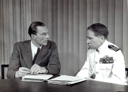"""This undated photograph provided by courtesy of Duquesne University/Musmanno Collection shows Baron von Loringhoven, left, Hitler's aide-de-camp, with Judge Michael Musmanno, included in the documentary film, """"The Day Hitler Died.""""  The film premieres on the Smithsonian Channel on Monday, Nov. 16, 2015, at 8 p.m. EDT/PDT. (Duquesne University/Musmanno Collection via AP)"""