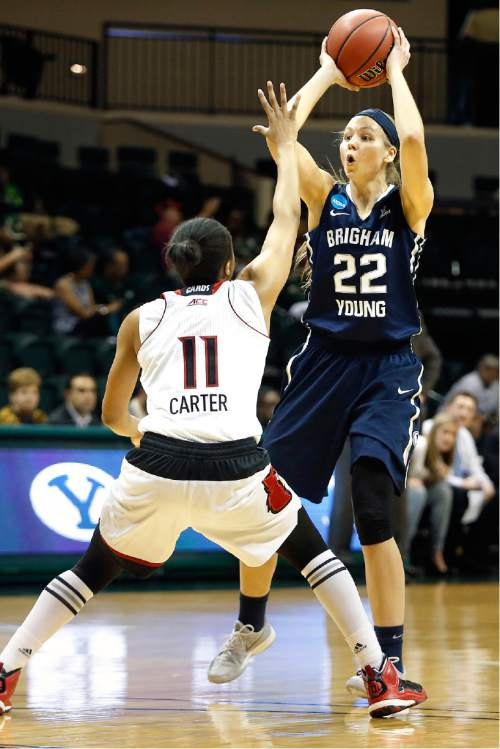 Brigham Young Cougars forward Kristine Fuller (22) attempts to pass while getting pressure from Louisville Cardinals guard Arica Carter (11) during the first half of an NCAA women's college basketball tournament game, Saturday, March 21, 2015, in Tampa, Fla. (AP Photo/Brian Blanco)