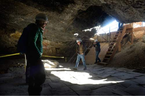 Scott Sommerdorf   |  The Salt Lake Tribune Hikers begin to enter inside Danger Cave near Wendover, Saturday, November 14, 2015.