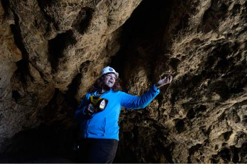 Scott Sommerdorf   |  The Salt Lake Tribune Tour guide Justina Parsons-Bernstein explains various features of Danger Cave near Wendover, Saturday, November 14, 2015.
