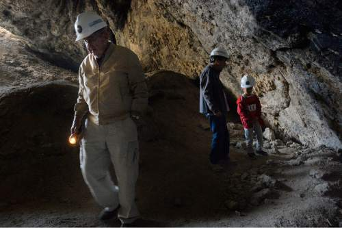 Scott Sommerdorf   |  The Salt Lake Tribune Hiker Jerry Davis during the tour inside Danger Cave near Wendover, Saturday, November 14, 2015.