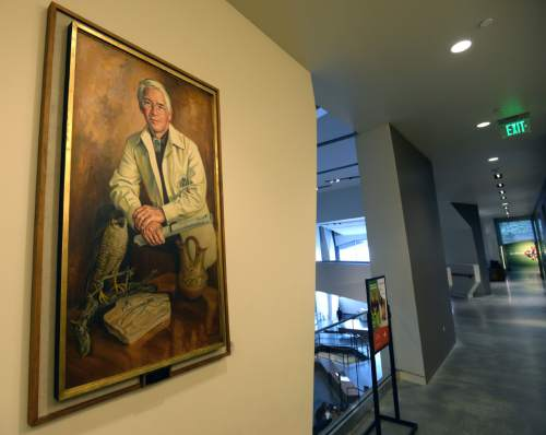 Steve Griffin  |  The Salt Lake Tribune  A portrait of Don Hague hangs in the Natural History Museum of Utah in Salt Lake City, Monday, November 16, 2015.