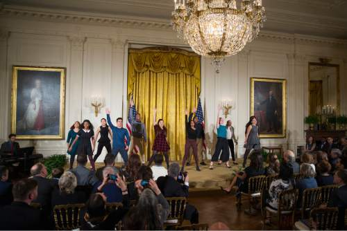 Evan Vucci  |  The Associated Press ATE II of New York, perform during the 2015 National Arts and Humanities Youth Program Awards on Tuesda in the East Room of the White House in Washington. The award goes to students representing 12 after-school programs from across the country and 1 international program.