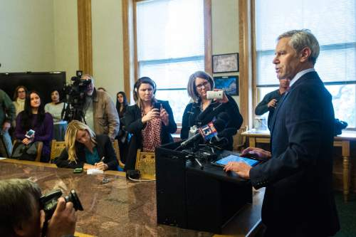 Chris Detrick  |  The Salt Lake Tribune Former Mayor Ralph Becker talks with members of the media after a election canvass event at City Hall Tuesday November 17, 2015. Jackie Biskupski is the mayor-elect of Salt Lake City.