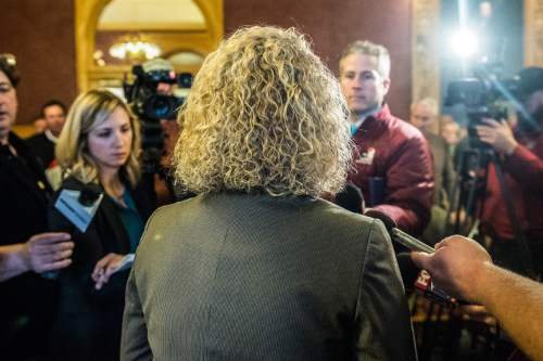 Chris Detrick  |  The Salt Lake Tribune Salt Lake City Mayor Jackie Biskupski talks with members of the media after a election canvass event at City Hall Tuesday November 17, 2015. Jackie Biskupski is the mayor-elect of Salt Lake City.