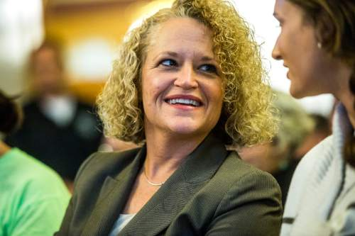 Chris Detrick  |  The Salt Lake Tribune Jackie Biskupski smiles after being announced the winner  during a election canvass event at City Hall Tuesday November 17, 2015. Jackie Biskupski is the mayor-elect of Salt Lake City.