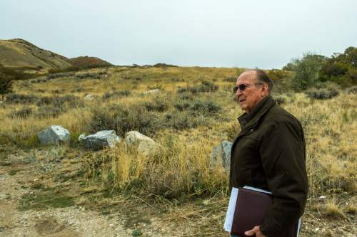 Chris Detrick  |  The Salt Lake Tribune Resident Earl Thomas walks along Firebreak Road on Twin Hollow Mountain Wednesday October 28, 2015.  A pair of Utah developers are seeking a public land swap in the Bountiful foothills that they say will accommodate public access and conservation in two key spots.  Some nearby residents, however, fear the plan would invite high-density residential growth in the wrong place.