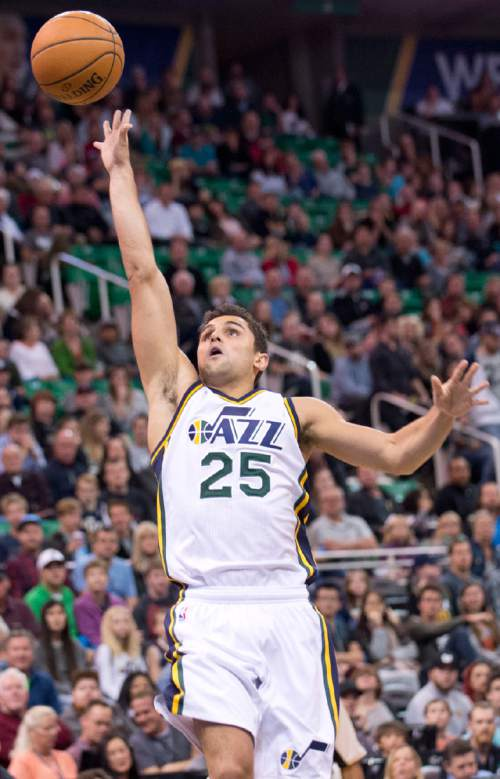 Lennie Mahler  |  The Salt Lake Tribune  Utah guard Raul Neto puts up a shot in the first half of a game against the Memphis Grizzlies at Vivint Smart Home Arena on Saturday, Nov. 7, 2015.
